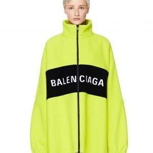 Balenciaga Neon Green Wool Logo Jacket