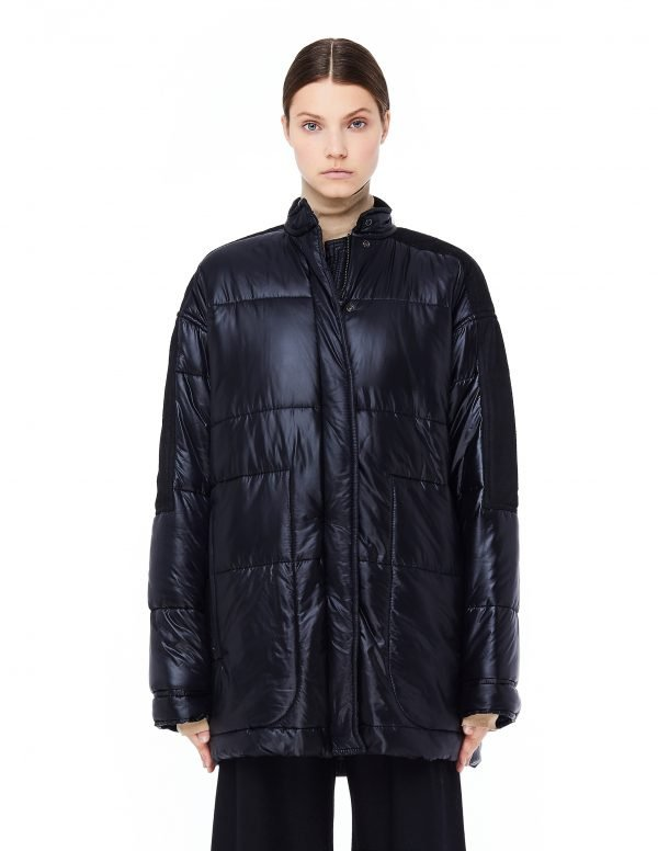 Haider Ackermann Black Nylon and Suede Quilted Jacket