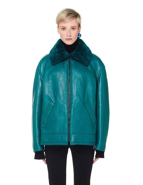 Balenciaga Green Leather Bombardier Jacket