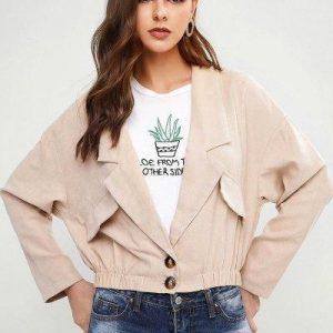 Drop Shoulder Faux Pockets Blouson Jacket