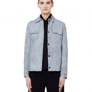 Salvatore Santoro Light Blue Leather Jacket