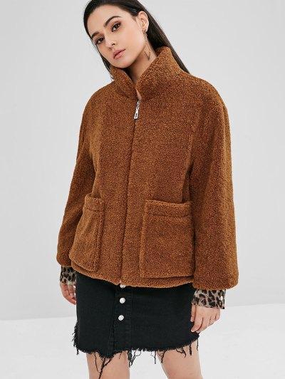 ZAFUL Fluffy Faux Shearling Teddy Winter Coat