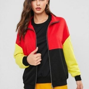 ZAFUL Zip Up Colorblock Loose Jacket