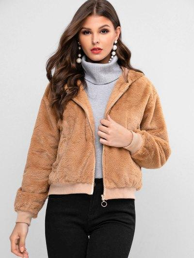 ZAFUL Zip Up Faux Fur Solid Hooded Coat